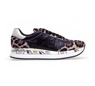 """Sneaker premiata """"conny"""" in tessuto e camoscio  Nero - Maculato"""