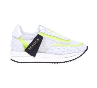 Sneaker Hide & Jack in pelle stampa cocco e tessuto  Bianco