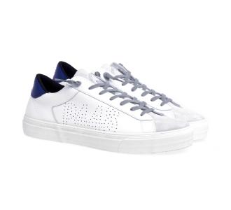 Sneaker p448 in pelle con suola vulcanizzata  Bianco - Blu (wht/nav)