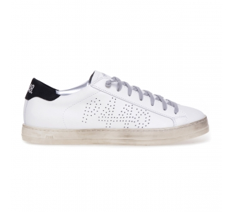 "Sneaker P448 ""John"" in pelle  Bianco - Nero"