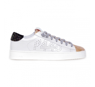"""Sneaker P448 """"Jack"""" in pelle  Bianco - Beige"""