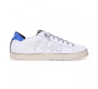Sneaker P448 John in pelle  Bianco - Azzurro