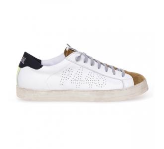 Sneaker P448 John in pelle  Bianco - Camel