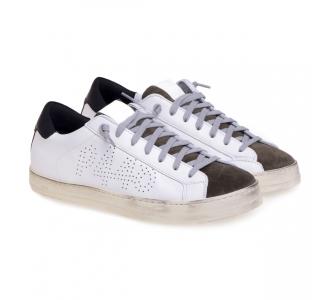 Sneaker P448 John in pelle  Bianco - Oliva