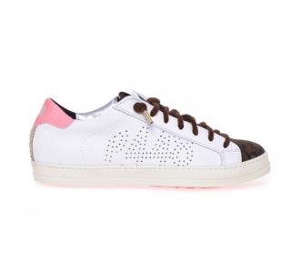 """Sneaker P448 """"John"""" in pelle  Bianco - Leopardo"""
