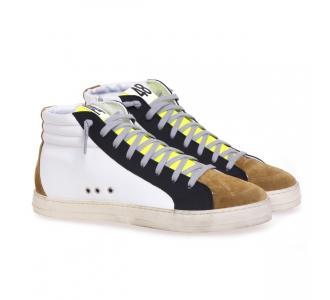 Sneaker P448 Skate in pelle e camoscio Bianco - Camel