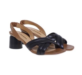 Sandalo Halmanera in pelle con tacco 50 mm  Nero - Cuoio