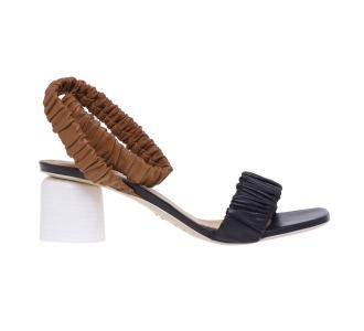 Sandalo Halmanera in pelle plissettata con tacco 50 mm  Nero - Cuoio