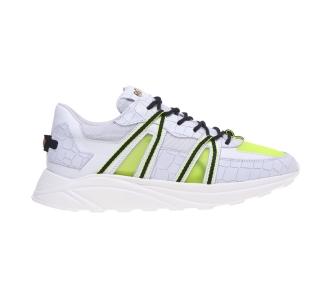 Sneaker Hide & Jack in pelle stampa cocco e tessuto.  Bianco