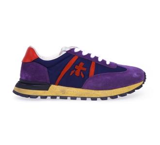 """Sneaker premiata """"john-low"""" in camoscio e tessuto  Viola - Blu"""