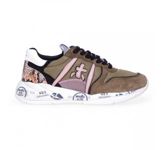 Sneaker Premiata Layla in tessuto e camoscio   Militare