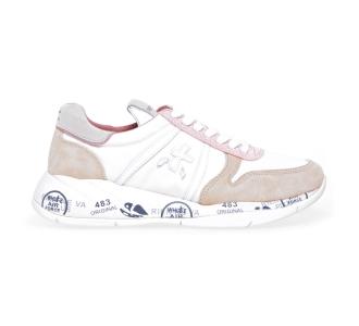 Sneaker Premiata Layla in camoscio e tessuto Bianco - Beige