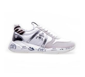 """Sneaker premiata """"layla"""" in tessuto e camoscio  Bianco"""