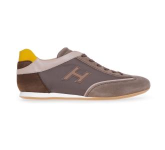 Sneaker Hogan Olympia in camoscio e tessuto  Taupe