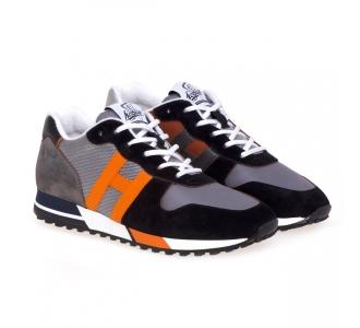 Sneaker Hogan H383 in camoscio e tessuto bicolore Grigio - Arancio