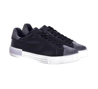 Sneaker hogan h526 rebel in pelle e camoscio invecchiato  Nero