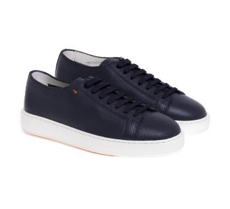 Sneaker Santoni in pelle martellata Blu