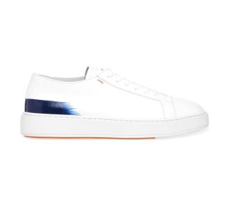 """Sneaker Santoni """"Cleanic"""" in pelle con dettaglio dipinto Bianco-blu"""