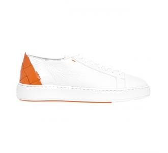 Sneaker Santoni 'Cleanic' in pelle con intreccio sul tallone Bianco - Arancio