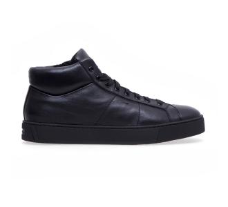 "Sneaker alta Santoni ""Gloria"" in pelle super soft Nero"