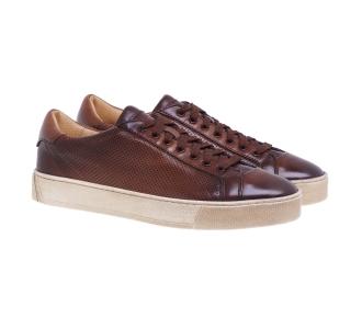 Sneaker Santoni in pelle tamponata e microforata Marrone