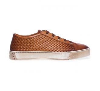 Sneaker Santoni 'Gloria' in pelle intrecciata Cuoio