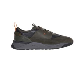 """Sneaker santoni """"innova"""" in pelle e camoscio  Militare"""
