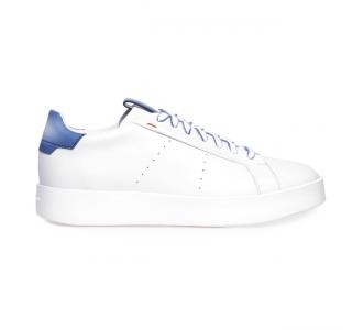 """Sneaker Santoni """"Wade"""" in pelle  Bianco-blu"""