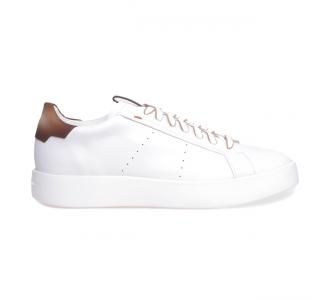 """Sneaker Santoni """"Wade"""" in pelle  Bianco - Cuoio"""
