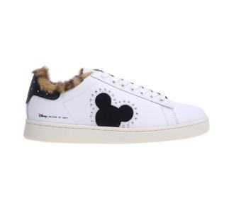 Sneaker moa - master of arts in pelle con ecopelliccia Bianco