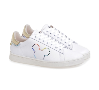 Sneaker MOA in pelle con Mickey Mouse rainbow Bianco