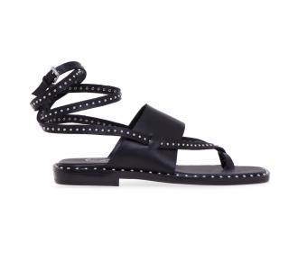 Sandalo flat ASH in pelle con infradito  Nero