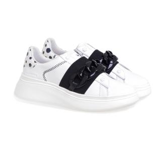 Sneaker MOA Double Gallery in pelle con maxi catena  Bianco