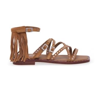 Sandalo ASH in camoscio con frangia Cuoio