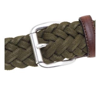 Cintura Minoronzoni in tessuto intrecciato ed elasticizzato Verde Mil.