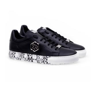 Philipp plein lo-top sneakers hexagon and skull Nero