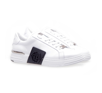 Philipp plein phantom kick$ lo-top leather hexagon Bianco