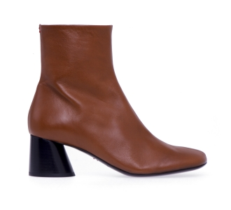 Halmanera ankle boot in nappa leather bicolor with cone heel NO COLOR