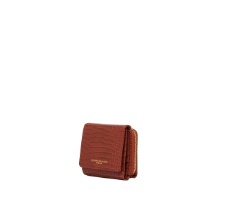Mini portafoglio gianni chiarini in pelle stampa cocco  terracotta Terracotta