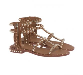 Sandalo ASH in pelle con borchie e zip laterale  Cuoio