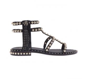 Sandalo ASH in pelle con borchie e zip laterale  Nero