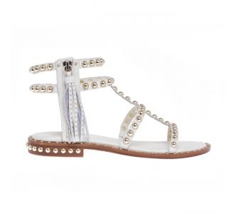 Sandalo ASH in pelle con borchie e zip laterale  Panna