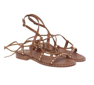 Sandalo flat Ash allacciato a schiava con borchie Cuoio