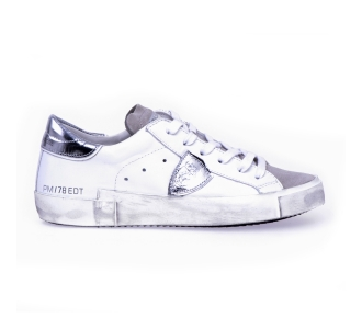 "Sneaker philippe model ""paris x"" in pelle e camoscio  Bianco"