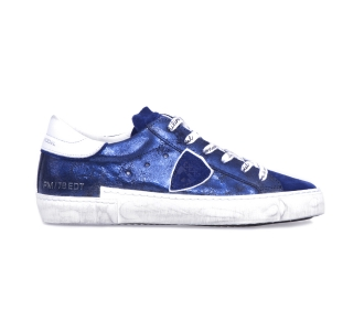 "Sneaker philippe model ""paris x"" in pelle floccata laminata e camoscio  Blu"