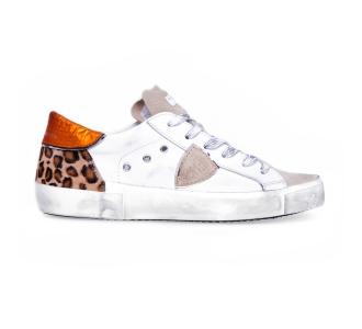 """Sneaker philippe model """"paris x"""" in pelle e cavallino leopardato Bianco"""
