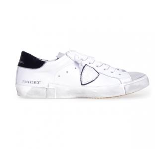 "Sneaker philippe model ""paris x"" in pelle  Bianco"