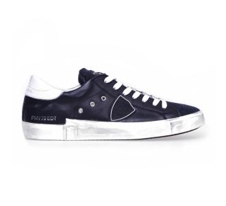 """Sneaker philippe model """"paris x"""" in pelle con scudetto gommato Nero"""