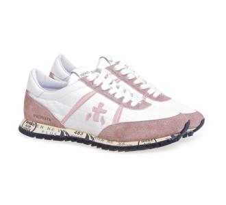 Sneaker Premiata Sean in camoscio e tessuto tecnico  Bianco - Rosa