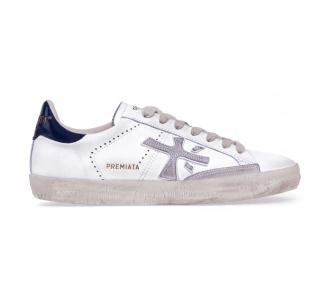 """Sneaker premiata """"steven"""" in pelle e camoscio  Bianco"""